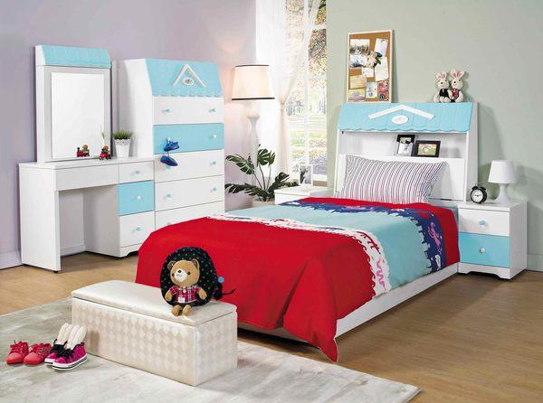 【森可家居】愛丁堡藍色鏡台(不含椅) 7JX53-6 梳化妝檯 兒童鄉村風