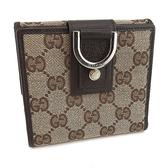 【奢華時尚】GUCCI ABBEY 咖啡色雙G布料10卡對折D環中夾(八五成新)#24103