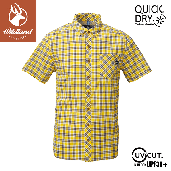【Wildland 荒野 男 彈性抗UV格子短袖襯衫《藤黃》】0A81206/POLO衫/運動衣/休閒衫