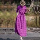 藝在2020原創設計春裝新款文藝休閑格子棉麻風洋裝紫紅色長款 快速出貨