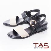 TAS撞色一字帶壓紋牛皮小坡跟涼鞋-深邃黑
