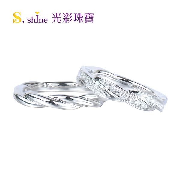 【光彩珠寶】婚戒 日本鉑金結婚戒指 對戒 晶鑽情人III