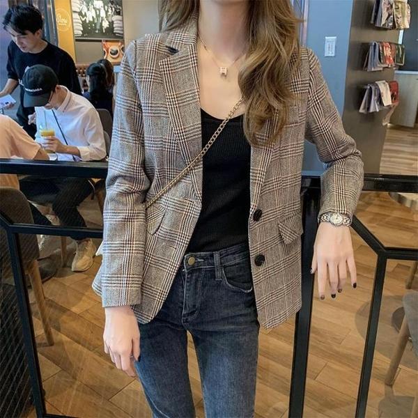 小西裝外套女2021秋季新款韓版學生短款網紅小個子氣質格子西 快速出貨