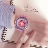 手錶女中學生正韓簡約休閒大氣電子錶數字式運動WY