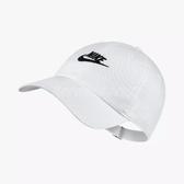Nike 帽子 NSW H86 Cap Futura Washed 男女款 老帽 純棉 棒球帽 穿搭 素面 水洗 白 【PUMP306】 913011-100