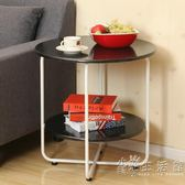 時尚小戶型客廳沙發邊桌小圓桌床邊電話幾創意圓形簡約行動小茶幾  WD
