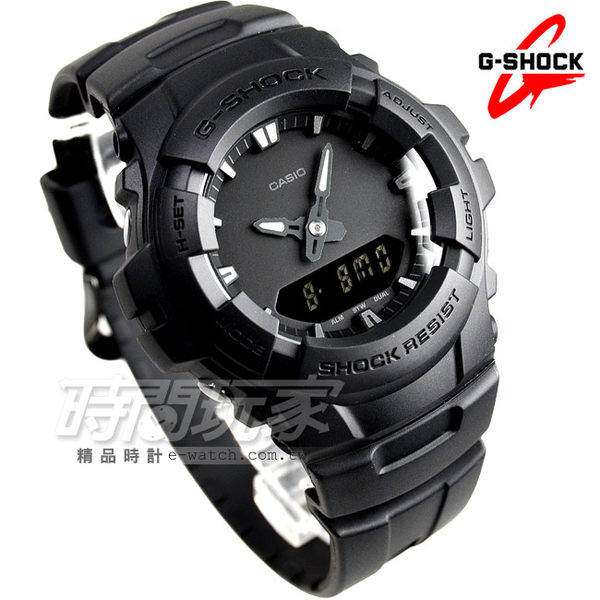 G-SHOCK CASIO卡西歐 G-100BB-1A 潮流專屬黑色控 日線全黑系列休閒運動錶 男錶 G-100BB-1ADR