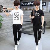 男運動套裝夏季學生短袖潮新款韓版圓領短袖兩件套 FR8209『俏美人大尺碼』