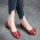 熱賣低跟鞋2021新款夏季淺口平底單鞋女真皮低跟夏款百搭春夏粗跟紅色小皮鞋 【618 狂歡】