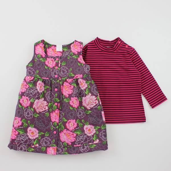 【愛的世界】彈性鋪棉牡丹花長袖背心裙套裝/4~6歲-台灣製- ★秋冬洋裝