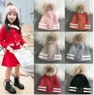 預購-秋冬新款刺繡小貓中童加絨保暖針織毛線帽3-7歲中童冬帽