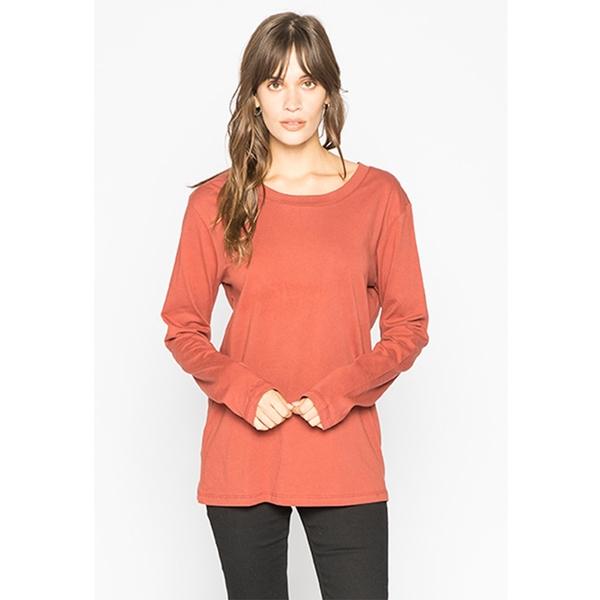 LIRA SOLID LONG SLEEVE 長袖T恤 - 紅