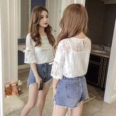 2018新款韓版寬鬆甜美女夏超仙短袖蕾絲衫鏤空網小吊帶兩件套上衣   夢曼森居家