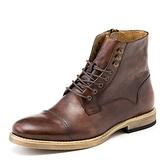 中筒靴真皮-綁帶個性鉚釘復古機車男靴子2色73kk4[巴黎精品]