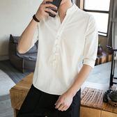 短袖t恤男裝唐裝亞麻盤扣七分袖上衣中式漢服