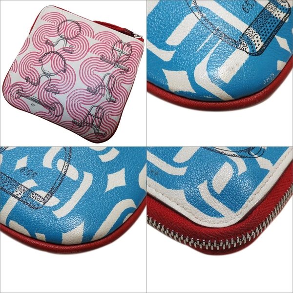 HERMES 愛馬仕 Carre Pocket pouch 藍色x粉色圖案方形小袋 零錢包 D刻 Swift