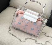 手提包女夏天仙女包包新款蕾絲小清新透明果凍包可愛手提鍊條斜背小包 愛麗絲