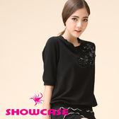 【SHOWCASE】蕾絲立體珠片棉質T恤(黑/白/桃)