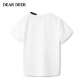 迪迪鹿童裝兒童t恤2019夏季新款男大童純色短袖寬鬆運動男童t恤