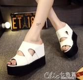 拖鞋網紅拖鞋女外穿新款夏季百搭時尚坡跟增高跟涼拖厚底鬆糕涼鞋 【快速出貨】