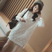漂亮小媽咪 甜美減齡洋裝 【D6086UK】 顯瘦 高挑 立體 波點 孕婦裝 連身裙 長版衣 孕婦裙