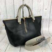 BRAND楓月 CHLOE 黑色皮革 金釦 對開拉鍊 素面 兩用包 手提包 斜背包 側背包