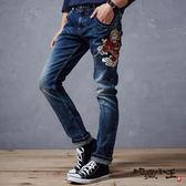 【第二件5折】孫悟空圖騰低腰微彈直筒褲- BLUE WAY  地藏小王
