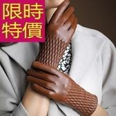 保暖手套-流行特殊剪裁素面菱格紋真皮革女手套 5色63d32【巴黎精品】