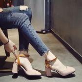 女士涼鞋女韓版百搭時尚一字扣包頭粗跟高跟鞋羅馬鞋子    琉璃美衣