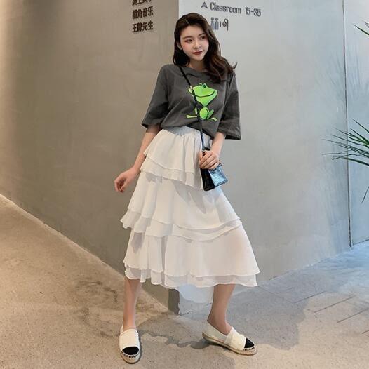 短袖裙裝 韓版 套裝 印花T恤+點點蛋糕裙 半身裙 兩件套 花漾小姐【預購】