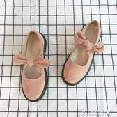 娃娃鞋 春夏季新款圓頭學生小皮鞋女日繫軟妹街拍絨面低跟單鞋娃娃鞋粉色  新年下殺