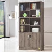 康迪仕十二格玻璃書櫃 深木色款 採E1板材
