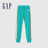 Gap女童 Logo撞色側邊條紋休閒針織褲 619659-綠色