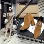 Dingle丁果大尺碼ღ韓版絨皮V口侧拉鍊尖頭高跟踝靴*3色