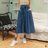 東京著衣-#ootd假排釦腰鬆緊附綁帶熱賣丹寧長裙(200386)