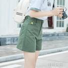 短褲女夏休閒寬鬆顯瘦高腰寬管褲五分褲工裝...
