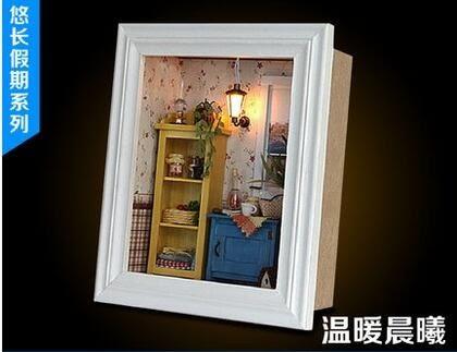 智趣屋 diy小屋迷你相框 悠閒午餐 手工木質拼裝模型帶燈創意禮物