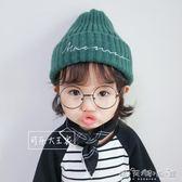 寶寶兒童毛線帽子針織秋冬新款純色男童女童韓版小孩帽子保暖護耳 晴天時尚館