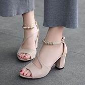 魚口鞋 夏季新款涼鞋女百搭一字扣魚口粗跟高跟時尚羅馬女鞋-Ballet朵朵