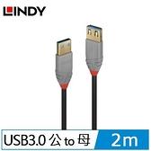 LINDY林帝 ANTHRA USB3.0 TYPE-A 公TO母 延長線 2M