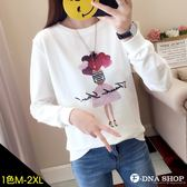 F-DNA★愛心氣球女孩印圖圓領長袖上衣T恤(白-M-2XL)【ET12869】