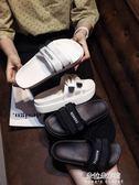 新款鬆糕魔術貼外穿chic拖鞋ins鬆糕涼拖女厚底一字拖  朵拉朵衣櫥