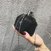水桶包迷你小包包女新款編織水桶包亮片鏈條單肩包休閑鑰匙包斜挎包 99免運