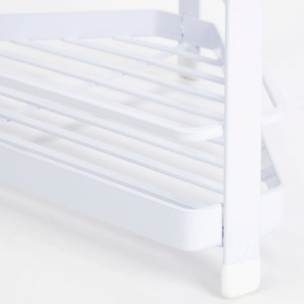 扁鐵雙層扇形角落架 白色