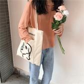 帆布袋 人頭像 外口袋 手提包 帆布包 單肩包 環保購物袋--手提/單肩【SPA224】 icoca  09/13