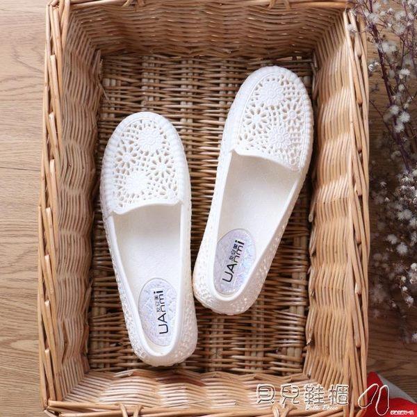 媽媽鞋夏季舒適白色塑料涼鞋女護士鞋媽媽鞋防滑平底透氣鳥巢鏤空 貝兒鞋櫃