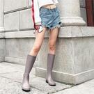 三明美春夏純色時尚雨鞋女士中高筒防滑雨靴長筒防水成人膠鞋1793 漾美眉韓衣