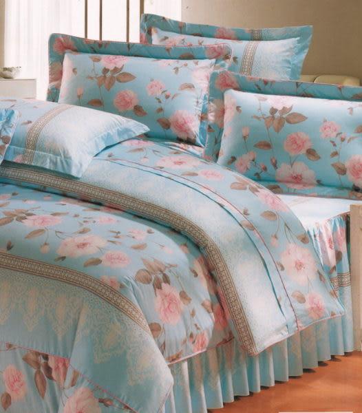 單品 (不含被套)-香榭麗舍-水藍、100%精梳棉【雙人加大床包6X6.2尺/枕套】
