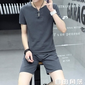 夏季亞麻套裝男裝短袖T恤中國風棉麻套裝男上衣半袖復古兩件套裝  自由角落
