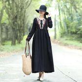 年冬季中國風棉麻提花復古繡花民族風度假旅行長袖洋裝連身裙長裙洋裝 618降價